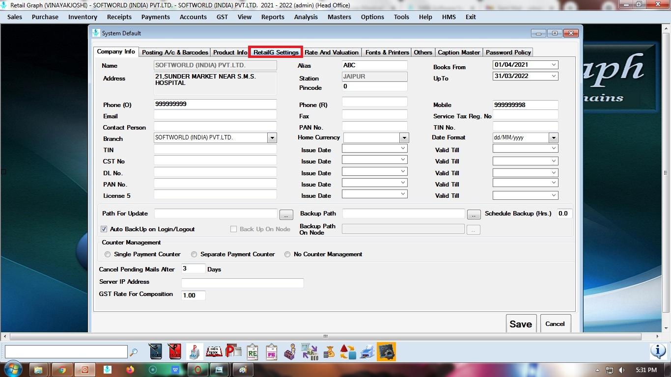 RetailG Settings tab